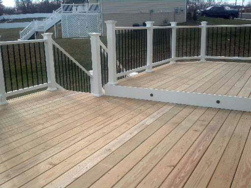 Silver Spring Maryland Multi-Level Wood Deck with Custom Railings.