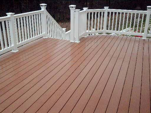 Silver Spring Maryland Azek Fawn PVC Maintenance Free Decking with White Vinyl Railings.